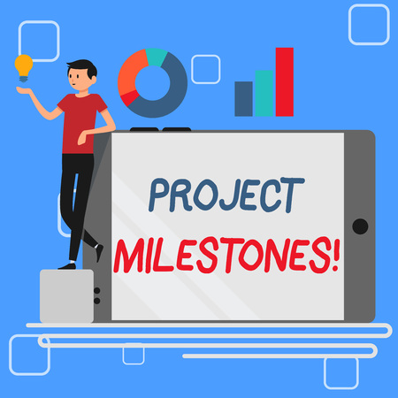 Foto de Handwriting text Project Milestones. Conceptual photo duration that shows an important achievement in a project Man Leaning on Blank Smartphone Turned on Its Side with Graph and Idea Icon - Imagen libre de derechos