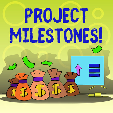 Foto de Writing note showing Project Milestones. Business concept for duration that shows an important achievement in a project Bag with Dollar Currency Sign and Arrow with Blank Banknote - Imagen libre de derechos