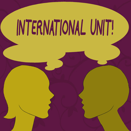 Photo pour Text sign showing International Unit. Business photo showcasing the internationally accepted amount of a substance Silhouette Sideview Profile Image of Man and Woman with Shared Thought Bubble - image libre de droit
