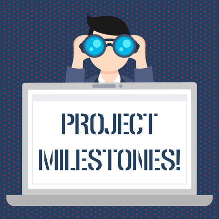 Foto de Handwriting text Project Milestones. Conceptual photo duration that shows an important achievement in a project Man Holding and Looking into Binocular Behind Open Blank Space Laptop Screen - Imagen libre de derechos