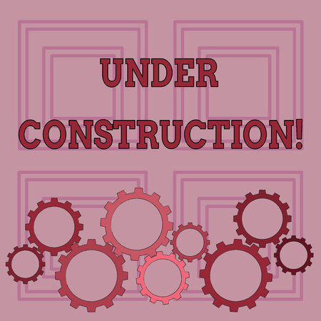 Photo for Handwriting text writing Under Construction. Conceptual photo project that is unfinished but actively being worked on Colorful Cog Wheel Gear Engaging, Interlocking and Tesselating Flat Style - Royalty Free Image