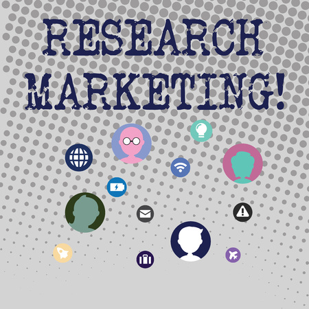 Foto de Handwriting text writing Research Marketing. Conceptual photo process of gathering and interpreting info about a market Networking Technical Icons with Chat Heads Scattered on Screen for Link Up - Imagen libre de derechos