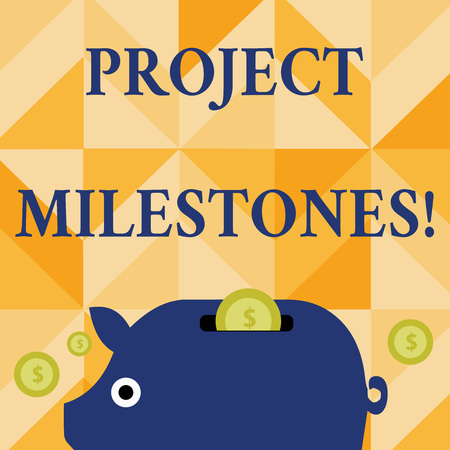 Foto de Conceptual hand writing showing Project Milestones. Concept meaning duration that shows an important achievement in a project Piggy Money Bank and Coins with Dollar Currency Sign on Slit - Imagen libre de derechos
