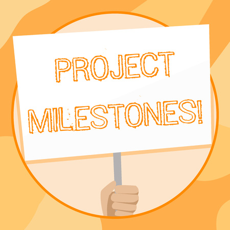 Foto de Handwriting text writing Project Milestones. Conceptual photo duration that shows an important achievement in a project Hand Holding Blank White Placard Supported by Handle for Social Awareness - Imagen libre de derechos