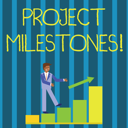 Foto de Writing note showing Project Milestones. Business concept for duration that shows an important achievement in a project Smiling Businessman Climbing Bar Chart Following an Arrow Up - Imagen libre de derechos