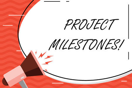 Foto de Word writing text Project Milestones. Business photo showcasing duration that shows an important achievement in a project Blank White Huge Oval Shape Sticker and Megaphone Shouting with Volume Icon - Imagen libre de derechos