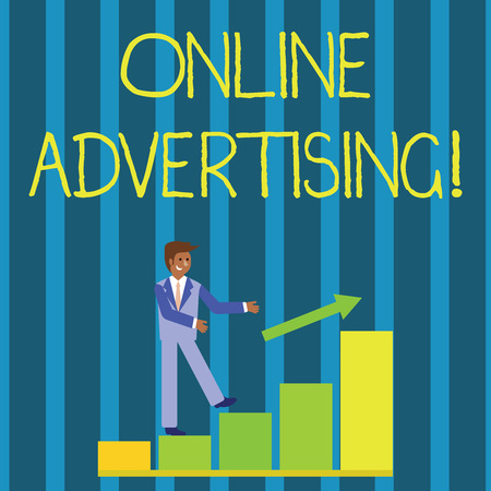 Foto de Writing note showing Online Advertising. Business concept for uses the Internet to marketing messages to customers Smiling Businessman Climbing Bar Chart Following an Arrow Up - Imagen libre de derechos