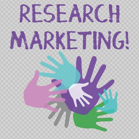 Foto de Word writing text Research Marketing. Business photo showcasing process of gathering and interpreting info about a market Color Hand Marks of Different Sizes Overlapping for Teamwork and Creativity - Imagen libre de derechos