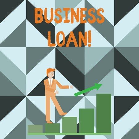 Photo pour Writing note showing Business Loan. Business concept for Loans provided to small businesses for various purposes Smiling Businessman Climbing Bar Chart Following an Arrow Up - image libre de droit