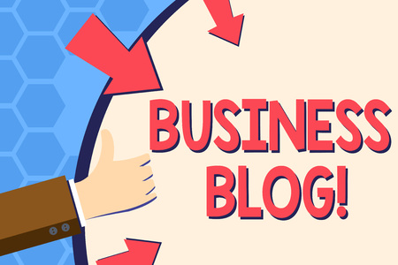 Foto per Writing note showing Business Blog. Business concept for Devoted to write about subject matter related to the company Hand Gesturing Thumbs Up Holding on Round Shape with Arrows - Immagine Royalty Free