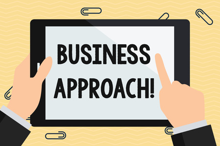 Photo pour Conceptual hand writing showing Business Approach. Concept meaning long term plan of action designed to achieve a target goal Hand Holding Pointing Touching Color Tablet White Screen - image libre de droit