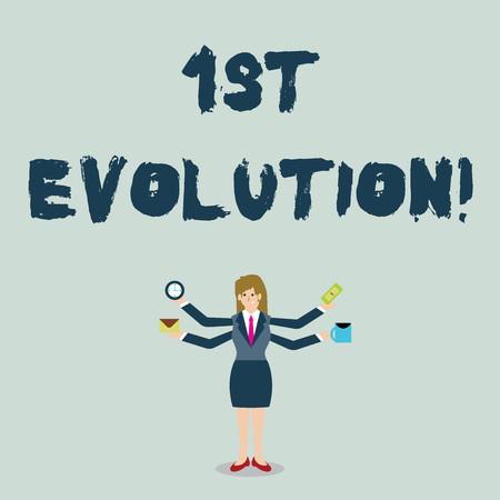 Foto de Handwriting text 1St Evolution. Conceptual photo Change in the genetic features of biological populations Businesswoman with Four Arms Extending Sideways Holding Workers Needed Item - Imagen libre de derechos