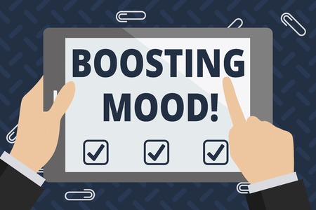 Foto de Text sign showing Boosting Mood. Business photo showcasing To make someone feel more positive or more confident Businessman Hand Holding, Pointing and Touching Colorful Tablet Blank Screen - Imagen libre de derechos