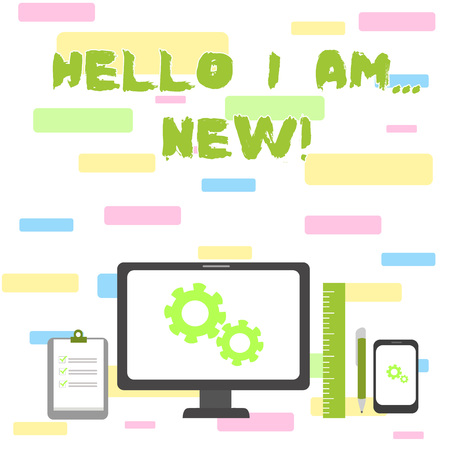 Photo pour Writing note showing Hello I Am New. Business concept for used as greeting or to begin telephone conversation - image libre de droit