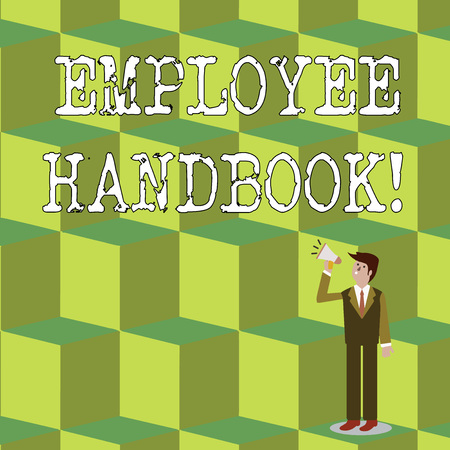 Foto de Handwriting text Employee Handbook. Conceptual photo states the rules and regulations and policies of a company Businessman Looking Up, Holding and Talking on Megaphone with Volume Icon - Imagen libre de derechos
