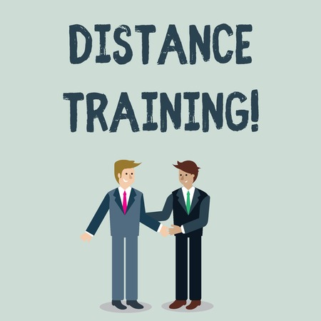 Photo for Writing note showing Distance Training. Business concept for learning remotely without being present at school Businessmen Smiling and Greeting each other by Handshaking - Royalty Free Image