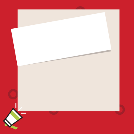 Photo pour Speaking trumpet on left bottom and paper attached to rectangle background Design business concept Empty copy text for Web banners promotional material mock up template - image libre de droit