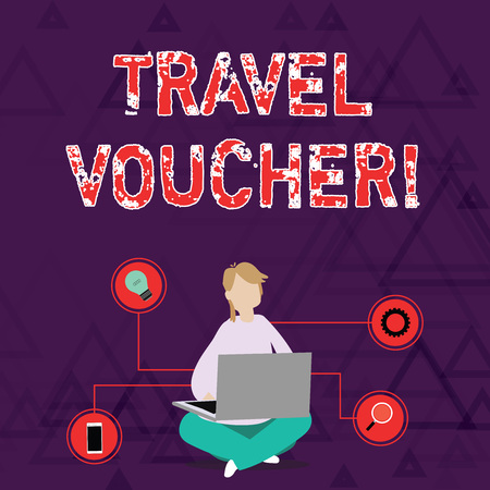 Photo pour Conceptual hand writing showing Travel Voucher. Concept meaning Tradable transaction type worth a certain monetary value Woman Sitting with Crossed Legs on Floor Browsing the Laptop - image libre de droit