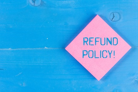 Photo pour Word writing text Refund Policy. Business photo showcasing refund or exchange defective merchandise previously buy - image libre de droit