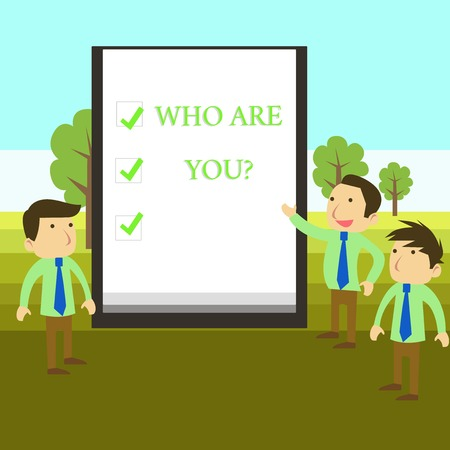 Photo for Conceptual hand writing showing Who Are You question. Concept meaning asking about demonstrating identity or demonstratingal information - Royalty Free Image