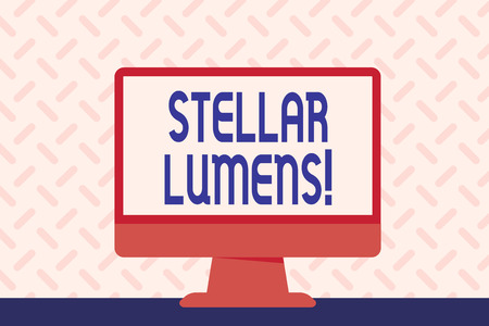 Foto de Text sign showing Stellar Lumens. Business photo showcasing cryptocurrency platform that uses on remittance and payments Blank Space Desktop Computer Colorful Monitor Screen Freestanding on Table - Imagen libre de derechos