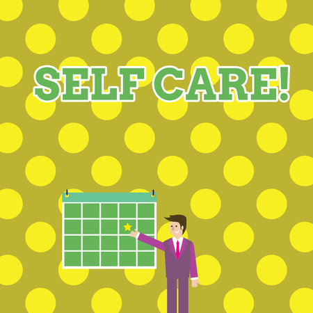 Photo pour Writing note showing Self Care. Business concept for practice of taking action to preserve or improve ones own health Businessman Smiling and Pointing Calendar with Star on Wall - image libre de droit