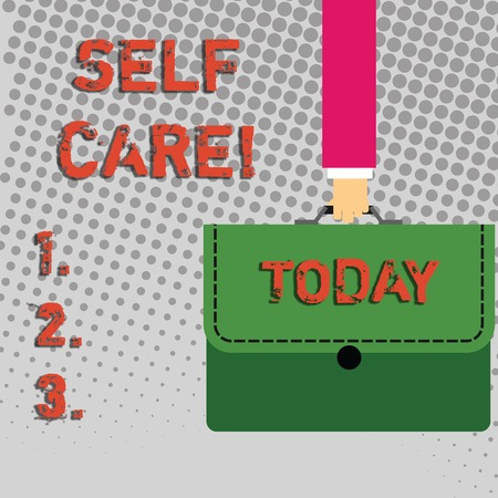 Photo pour Handwriting text Self Care. Conceptual photo practice of taking action to preserve or improve ones own health Businessman Hand Carrying Colorful Briefcase Portfolio with Stitch Applique - image libre de droit