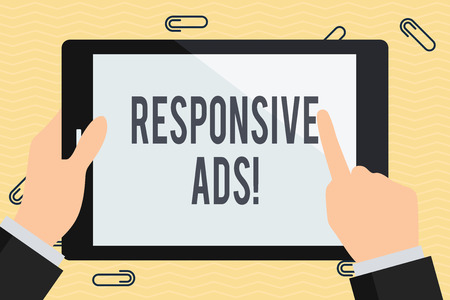 Photo pour Conceptual hand writing showing Responsive Ads. Concept meaning Automatically adjust form and format to fit existing ad space Businessman Hand Holding and Pointing Colorful Tablet Screen - image libre de droit