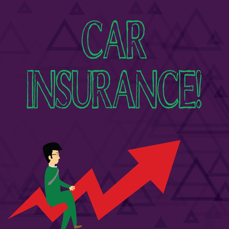 Photo pour Writing note showing Car Insurance. Business concept for protection against financial loss in the event of an accident Businessman with Eyeglasses Riding Crooked Arrow Pointing Up - image libre de droit