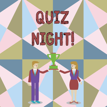 Photo pour Word writing text Quiz Night. Business photo showcasing evening test knowledge competition between individuals Man and Woman in Business Suit Holding Together the Championship Trophy Cup - image libre de droit