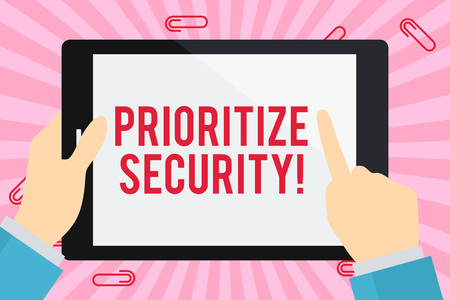 Photo pour Word writing text Prioritize Security. Business photo showcasing designate security risk as more important to solve Businessman Hand Holding, Pointing and Touching Colorful Tablet Blank Screen - image libre de droit