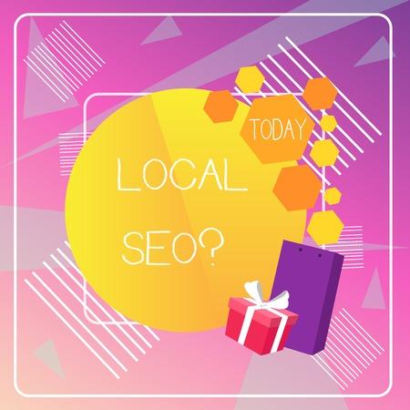 Foto de Word writing text Local Seo question. Business photo showcasing incredibly effective way to market your local business online - Imagen libre de derechos