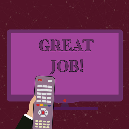 Photo for Handwriting text Great Job. Conceptual photo used praising someone for something they have done very well Hand Holding Computer Remote Control infront of Blank Wide Color PC Screen - Royalty Free Image