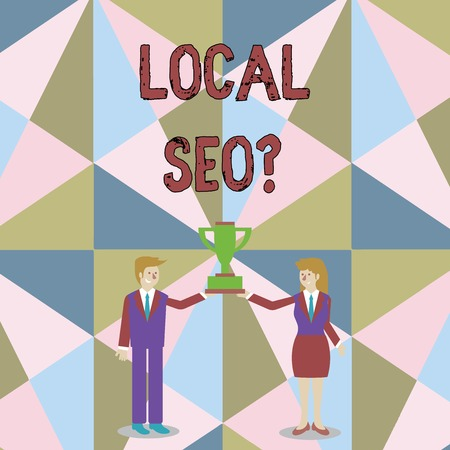Foto de Word writing text Local Seo question. Business photo showcasing incredibly effective way to market your local business online Man and Woman in Business Suit Holding Together the Championship Trophy Cup - Imagen libre de derechos