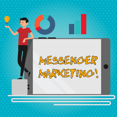 Foto de Text sign showing Messenger Marketing. Business photo showcasing act of marketing to your customers using a messaging app Man Leaning on Blank Smartphone Turned on Its Side with Graph and Idea Icon - Imagen libre de derechos