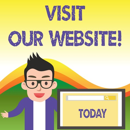 Foto per Text sign showing Visit Our Website. Business photo showcasing visitor who arrives at web site and proceeds to browse - Immagine Royalty Free