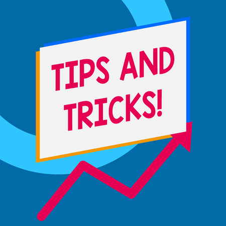 Foto de Writing note showing Tips And Tricks. Business concept for means piece advice maybe suggestion how improve - Imagen libre de derechos