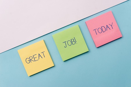 Photo for Text sign showing Great Job. Business photo showcasing used praising someone for something they have done very well Pastel colour note papers placed sideways on the of softhued backdrop - Royalty Free Image