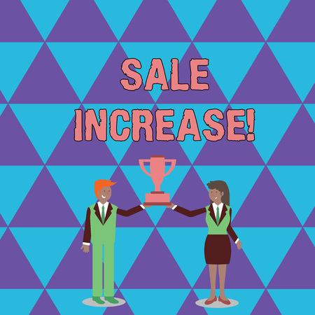 Foto de Conceptual hand writing showing Sale Increase. Concept meaning amount a company derives from sales compared to a previous Man and Woman Business Suit Holding Championship Trophy Cup - Imagen libre de derechos