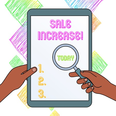 Foto de Writing note showing Sale Increase. Business concept for amount a company derives from sales compared to a previous Hands Holding Magnifying Glass Against Switched Off Touch Screen Tablet - Imagen libre de derechos