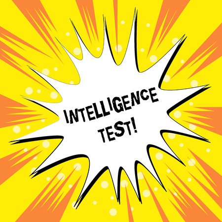 Foto de Handwriting text writing Intelligence Test. Conceptual photo test designed to measure the ability to think and reason Empty Spiky and Jagged Dialog Box Explosion Text Balloon Colored Background - Imagen libre de derechos