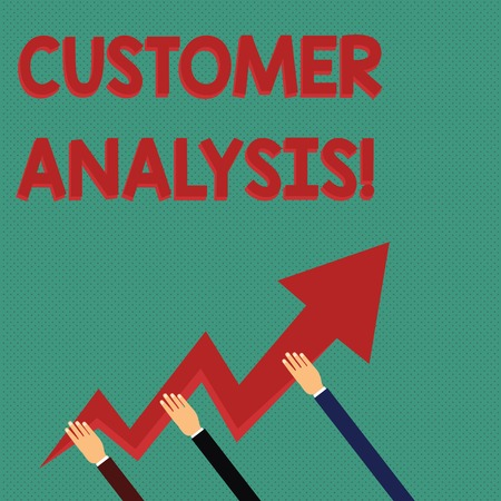Foto de Conceptual hand writing showing Customer Analysis. Concept meaning systematic examination of a company s is customer information Hands Holding Zigzag Lightning Arrow Pointing and Going Up - Imagen libre de derechos