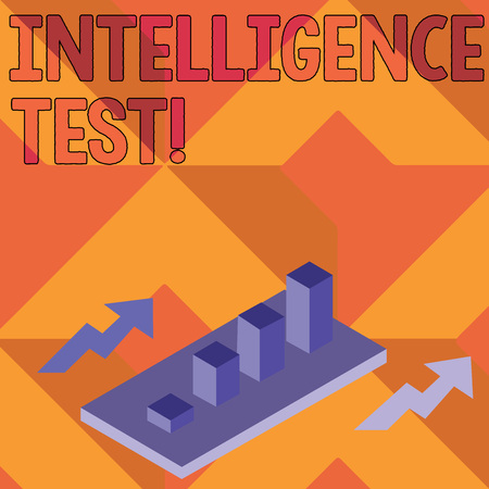 Foto de Writing note showing Intelligence Test. Business concept for test designed to measure the ability to think and reason Clustered 3D Bar Chart Graph in Perspective with Two Arrows - Imagen libre de derechos