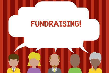 Photo for Conceptual hand writing showing Fundraising. Concept meaning seeking to generate financial support for charity or cause Five different persons sharing speech bubble People talking - Royalty Free Image