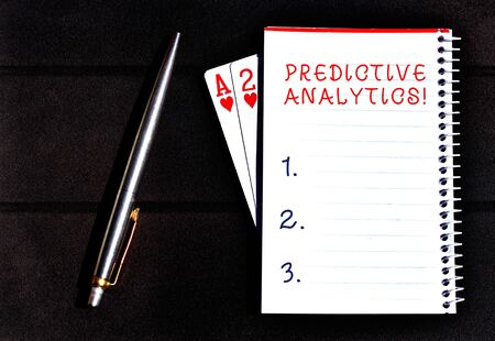 Foto de Conceptual hand writing showing Predictive Analytics. Concept meaning Optimize Collection Achieve CRM Identify Customer Writing equipments placed next to a gadget vintage lantern - Imagen libre de derechos