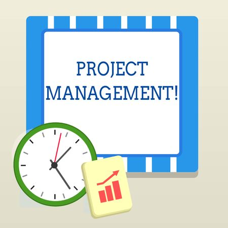 Foto de Word writing text Project Management. Business photo showcasing Application Process Skills to Achieve Objectives and Goal Layout Wall Clock Notepad with Escalating Bar Graph and Arrow Pointing Up - Imagen libre de derechos