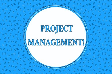 Foto de Word writing text Project Management. Business photo showcasing Application Process Skills to Achieve Objectives and Goal Empty Round Circular Copy Space Text Balloon against Dashed Background - Imagen libre de derechos
