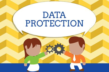 Foto de Word writing text Data Protection. Business photo showcasing Protect IP addresses and demonstratingal data from harmful software Standing young couple sharing gear. Man tie woman skirt commerce relation - Imagen libre de derechos
