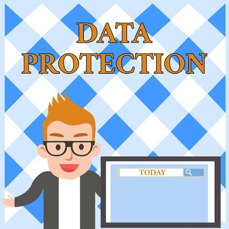 Foto de Conceptual hand writing showing Data Protection. Concept meaning Protect IP addresses and demonstratingal data from harmful software Male Speaker Screen with Search Tool on Screen Presentation - Imagen libre de derechos