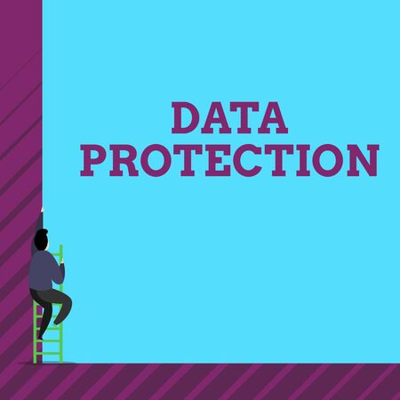 Foto de Text sign showing Data Protection. Business photo text Protect IP addresses and demonstratingal data from harmful software One male human person climb up the tall high wall use short ladder stairway - Imagen libre de derechos